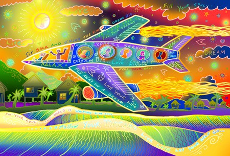 A psychedelic airplane